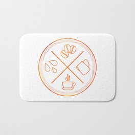 Four Elements of Cappuccino Pictogram Bath Mat