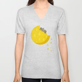 """If I could take a mouse to the moon…"" Unisex V-Neck"