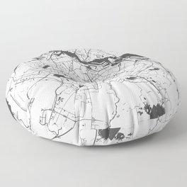 Amsterdam White on Gray Street Map Floor Pillow