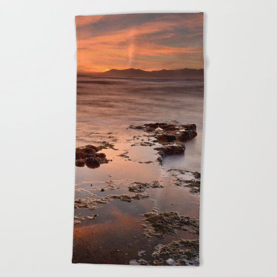 """Last red light"" Sunset at the sea Beach Towel"