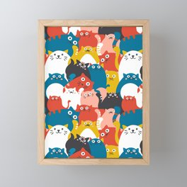 Cats Crowd Pattern Framed Mini Art Print