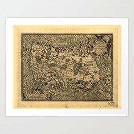 Map of Ireland by Abraham Ortelius (1598) Art Print