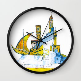 Sharjah Traditional Art in water colour Wall Clock