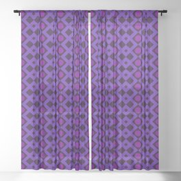 Geometric Design - Purple and Magenta - Diamonds Circles Squares Sheer Curtain