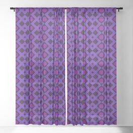 Geometric Design - Purple and Magenta - Diamonds Circles Squares Sheer Curtain