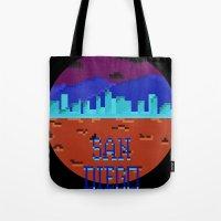 san diego Tote Bags featuring San Diego by Simon Alenius