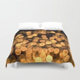 Golden Bokeh Light On A Black Background #decor #society6 Duvet Cover