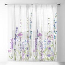 purple blue wild flowers watercolor painting Sheer Curtain
