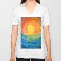 hindu V-neck T-shirts featuring Hindu Creation by Brusling