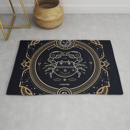 Cancer Zodiac Gold White with Black Background Rug
