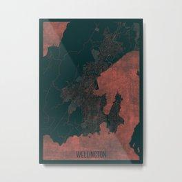 Wellington Map Red Metal Print