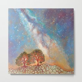 Twin Trees and the Milky Way Metal Print