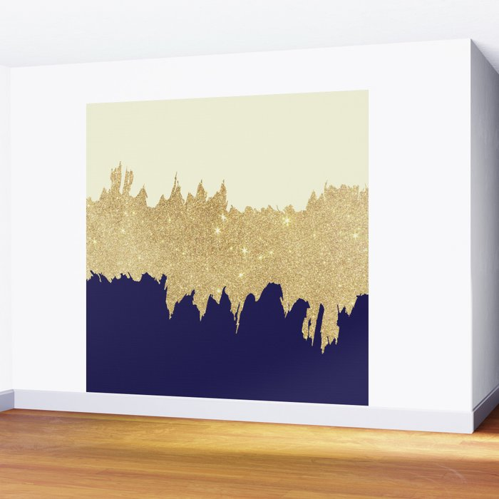 Navy blue ivory faux gold glitter brushstrokes Wall Mural