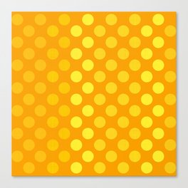 """Yellow & Ocher Burlap Texture & Polka Dots"" Canvas Print"