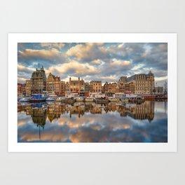 Cloudy skyline Amsterdam  Art Print