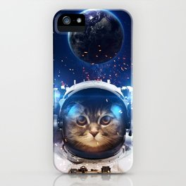 Beautiful cat in outer space iPhone Case