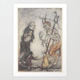 "Arthur Rackham - Dickens' Christmas Carol (1915): ""How are you?"" said one. Art Print"
