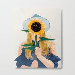 Miss Sunflower, Modern Bohemian Pastel Woman, Fashion Painting Illustration Metal Print