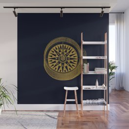 The golden compass I- maritime print with gold ornament Wall Mural