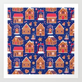 Gingerbread Houses and Sweets Candies - Blue Art Print