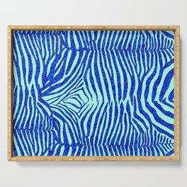 Blue Glitter Zebra Print Serving Tray