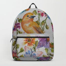 YELLOW BIRD WITH WHIMSICAL FLOWERS AND BUTTERFLIES Backpack