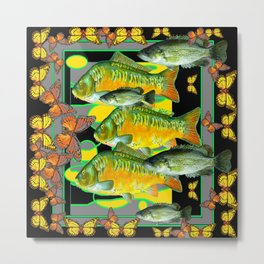 YELLOW & ORANGE MONARCH BUTTERFLIES FISH VIGNETTE Metal Print