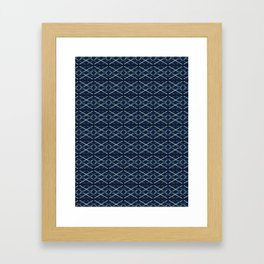 Woven Ribbon Indigo Criss Cross Lines Framed Art Print