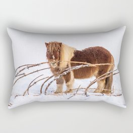 Brown pony standing on the snow Rectangular Pillow