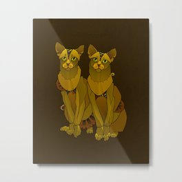 Steampunk Oriental Shorthaired Cats Metal Print