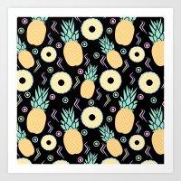 Black Pineapple Art Print