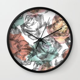 Etched Rose Wall Clock
