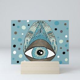 pysanky eye egg, blue green brown white black Mini Art Print
