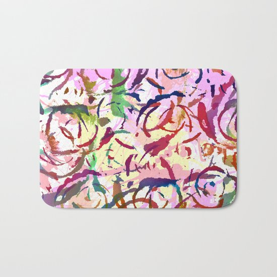 abstract roses silhouettes Bath Mat