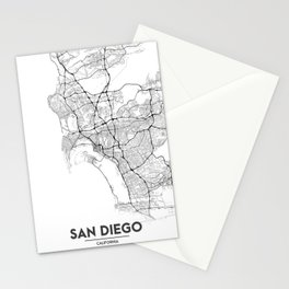 Minimal City Maps - Map Of San Diego, California, United States Stationery Cards