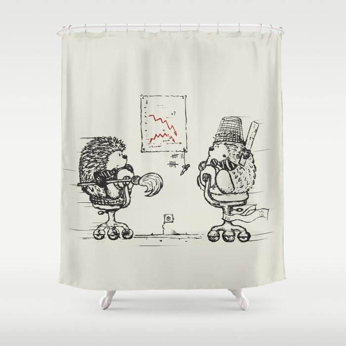 meanwhile at the office    shower curtain by ikarpov