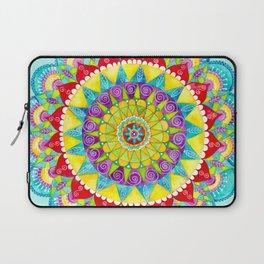 Mandala of Many Colors on Turquoise Laptop Sleeve
