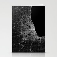 chicago map Stationery Cards featuring Chicago map by Line Line Lines