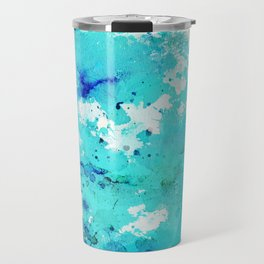 Abstract modern teal blue watercolor paint pattern Travel Mug