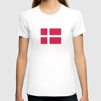 denmark T-shirts featuring denmark country flag by tony tudor