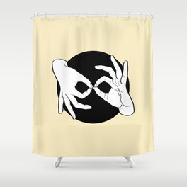 Sign Language (ASL) Interpreter – White on Black 04 Shower Curtain