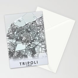 Tripoli, Libya, White, City, Map Stationery Cards