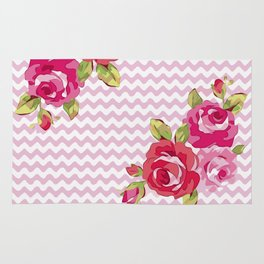 Roses on geometric pattern Rug