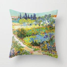 12,000pixel-500dpi - Vincent van Gogh - Garden At Arles, Flowering Garden With Path Throw Pillow