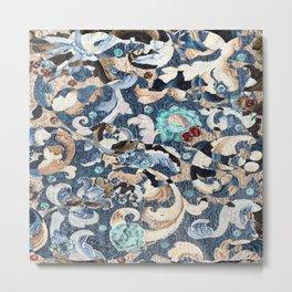 Blue Floral Acanthus Pattern Metal Print