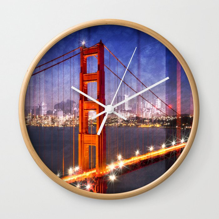City Art Golden Gate Bridge Composing Wall Clock