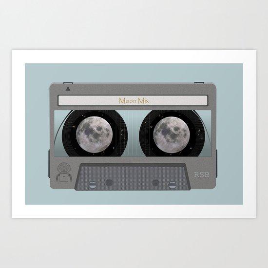 The Moon Mix Tape Art Print