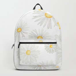 white daisy pattern watercolor Backpack