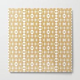 Ironwork - White/Gold 2 Metal Print