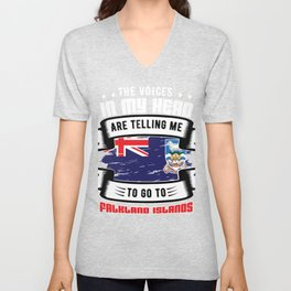 The Voices in my Head are calling  falkland islands Unisex V-Neck